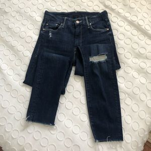 Mother High Waisted Ankle Fray Jeans